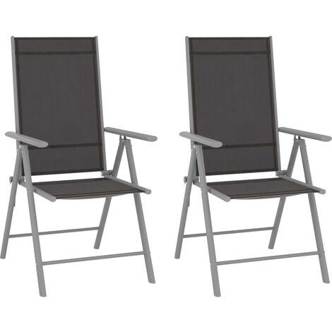 YOUTHUP Folding Garden Chairs 2 pcs Textilene Black