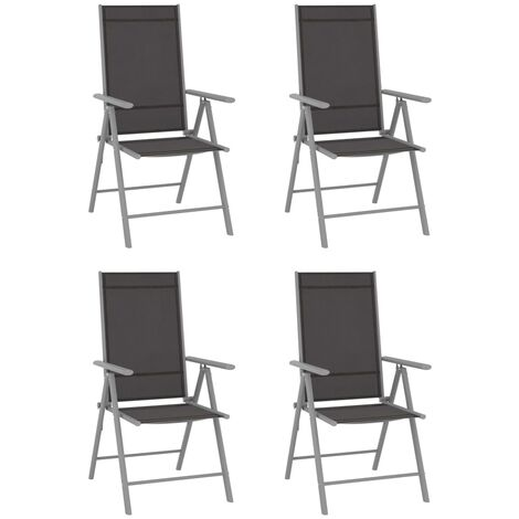 YOUTHUP Folding Garden Chairs 4 pcs Textilene Black