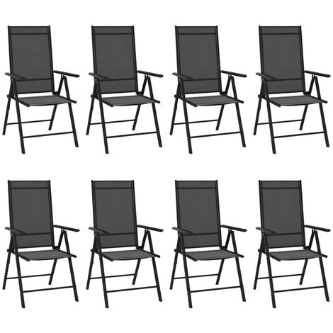 YOUTHUP Folding Garden Chairs 8 pcs Textilene Black