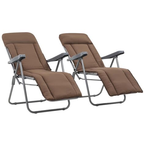 YOUTHUP Folding Garden Chairs with Cushions 2 pcs Brown