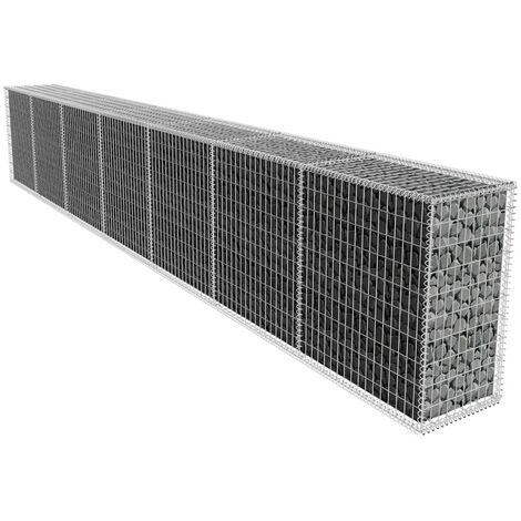 YOUTHUP Gabionenwand mit Abdeckung Verzinkter Stahl Gabionen 600x50x100 cm