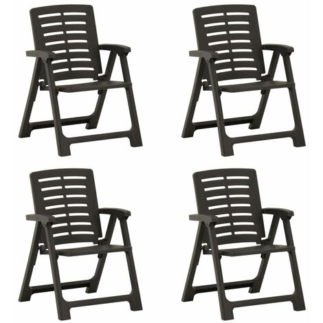 YOUTHUP Garden Chairs 4 pcs Plastic Anthracite