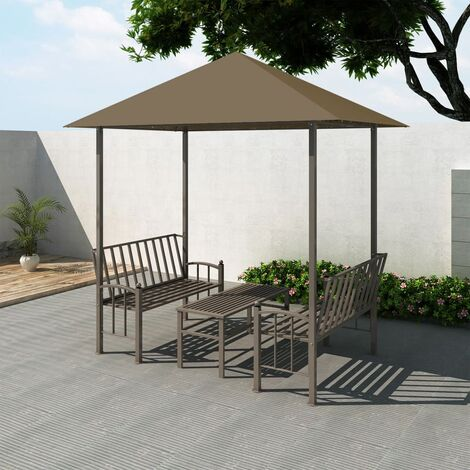 YOUTHUP Garden Pavilion with Table and Benches 2.5x1.5x2.4 m Taupe 180 g/m虏