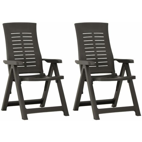 YOUTHUP Garden Reclining Chairs 2 pcs Plastic Anthracite