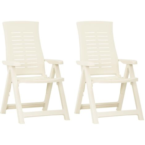 YOUTHUP Garden Reclining Chairs 2 pcs Plastic White