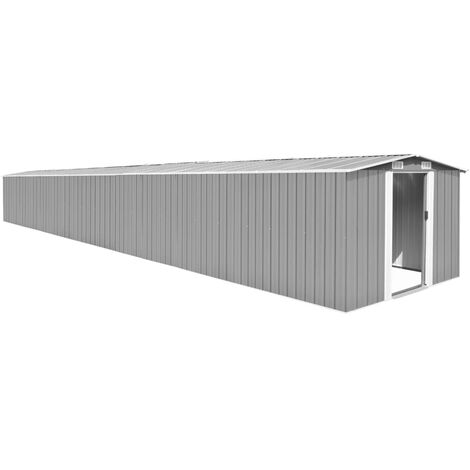 YOUTHUP Garden Shed Grey 257x990x181 cm Galvanised steel