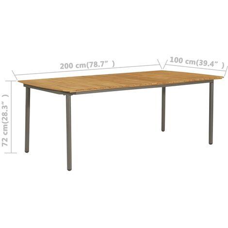 YOUTHUP Gartentisch 200x100x72 cm Akazie Massivholz und Stahl - 47297-DE