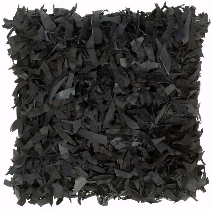 Kissen Hochflor Schwarz 60 x 60 cm Leder und Baumwolle - Youthup