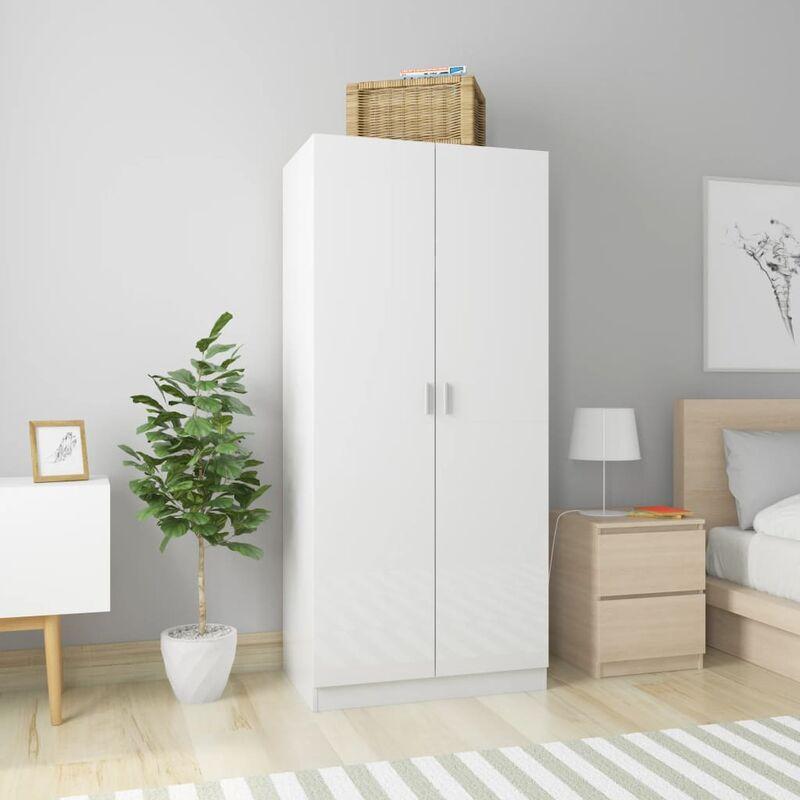 Kleiderschrank Hochglanz-Weiß 80×52×180 cm Spanplatte - Youthup