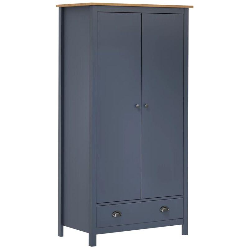 Kleiderschrank mit 2 Türen Hill Range Grau 89x50x170cm Kiefer - Youthup