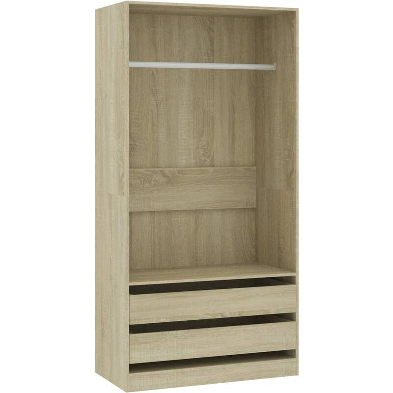 Kleiderschrank Sonoma-Eiche 100×50×200 cm Spanplatte - Youthup