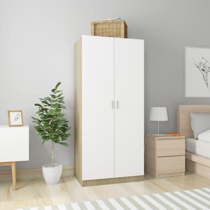 Kleiderschrank Weiß Sonoma-Eiche 80×52×180 cm Spanplatte - Youthup