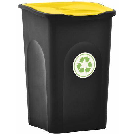 YOUTHUP Mülleimer mit Klappdeckel 50L Schwarz und Gelb