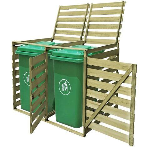 YOUTHUP Mülltonnenbox für 2 Tonnen 240 L Imprägniertes Holz