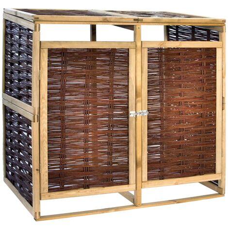 YOUTHUP Mülltonnenbox für 2 Tonnen Kiefernholz und Weide