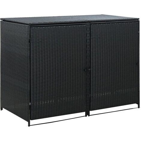 YOUTHUP Mülltonnenbox für 2 Tonnen Poly Rattan Schwarz 148x80x111 cm