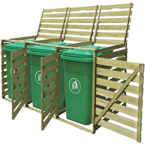YOUTHUP Mülltonnenbox für 3 Tonnen 240 L Imprägniertes Holz