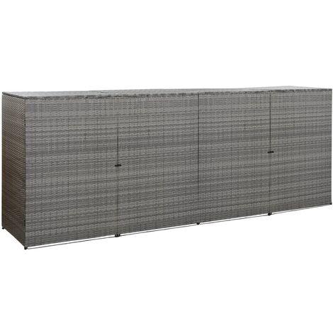 YOUTHUP Mülltonnenbox für 4 Tonnen Anthrazit 305x78x120 cm Poly Rattan