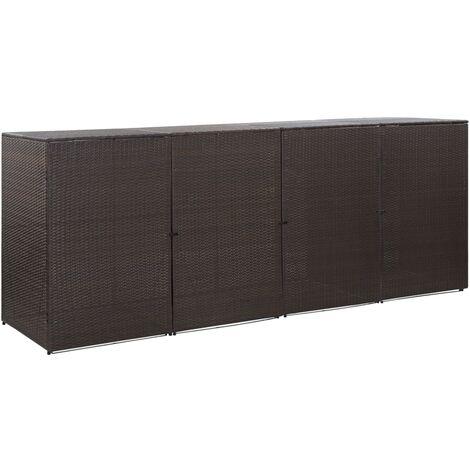 YOUTHUP Mülltonnenbox für 4 Tonnen Braun 305 x 78 x 120 cm Poly Rattan