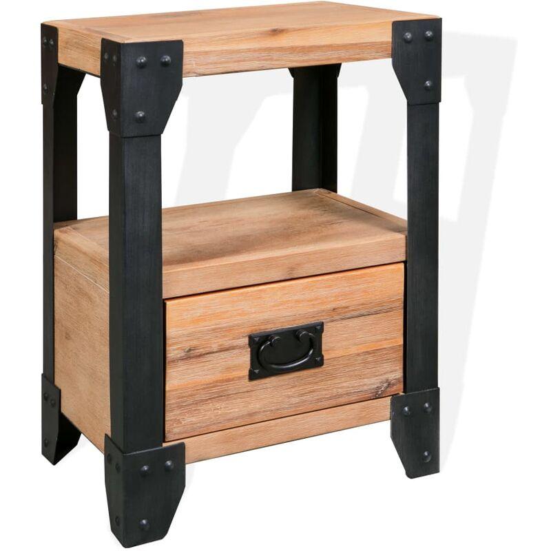 Nachttisch Akazienholz Massiv Stahl 40 x 30 x 54 cm - Youthup