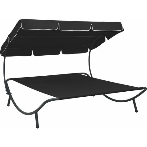 YOUTHUP Outdoor Lounge Bed with Canopy Black