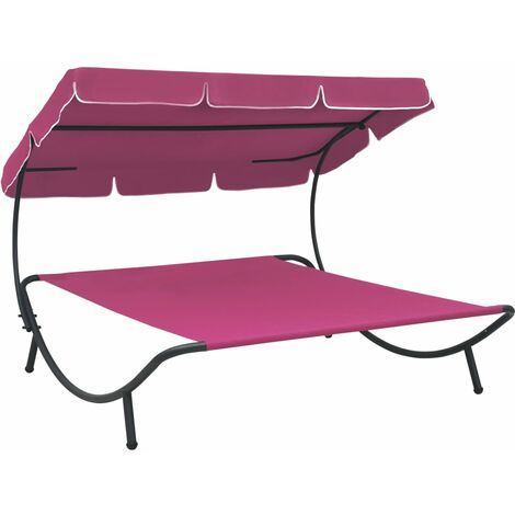 YOUTHUP Outdoor Lounge Bed with Canopy Pink