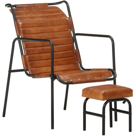 YOUTHUP Relaxing Armchair with a Footrest Brown Real Leather