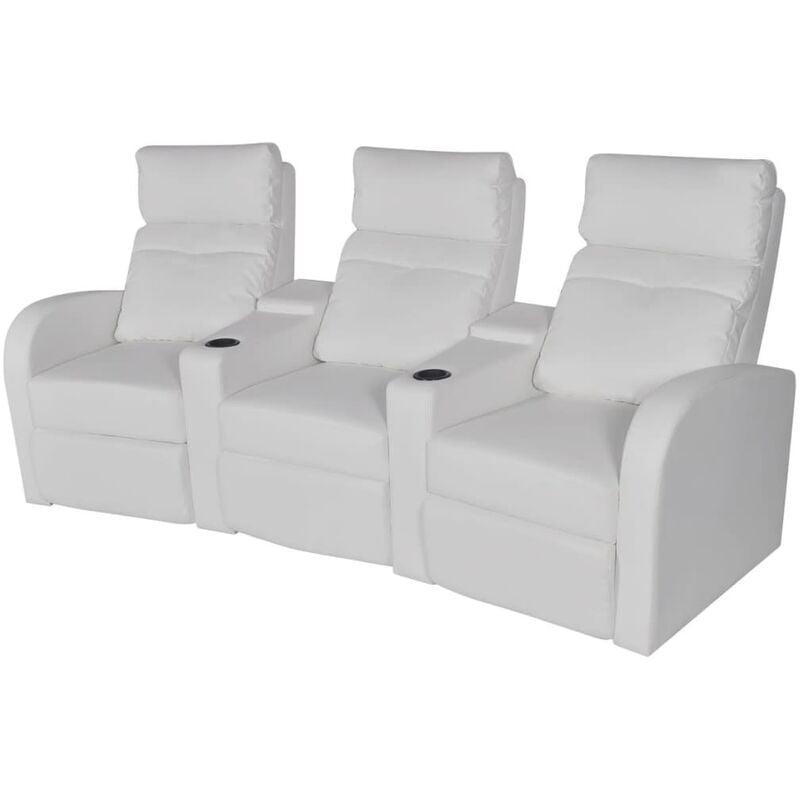 YOUTHUP Relaxsessel 3-Sitzer Kunstleder Weiß