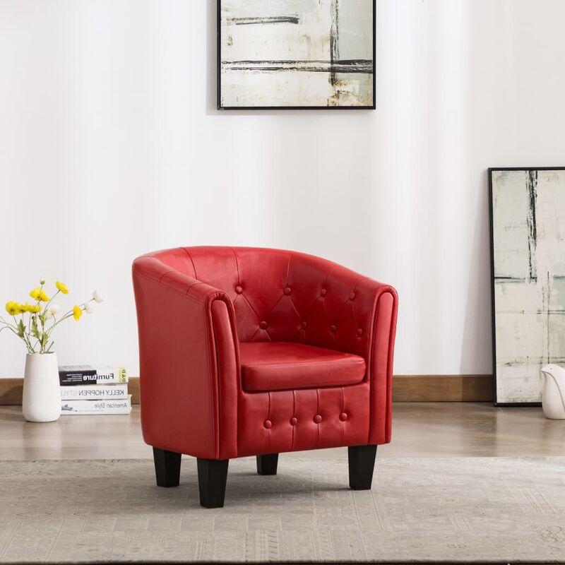 Sessel Rot Kunstleder - Youthup