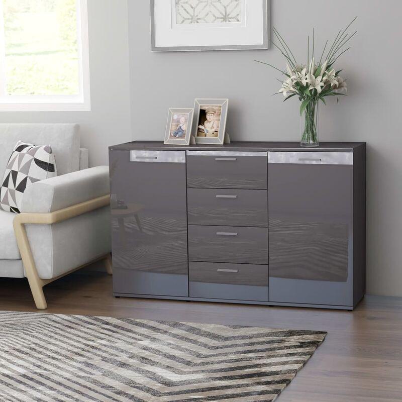 Sideboard Hochglanz-Grau 120×35,5×75 cm Spanplatte - Youthup