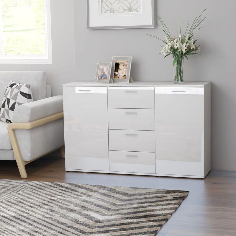 Sideboard Hochglanz-Weiß 120×35,5×75 cm Spanplatte - Youthup