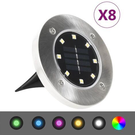 YOUTHUP Solar Ground Lights 8 pcs LED Lights RGB Colour