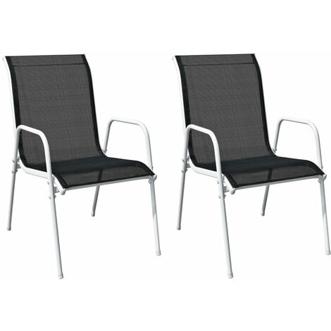 YOUTHUP Stackable Garden Chairs 2 pcs Steel and Textilene Black