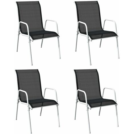 YOUTHUP Stackable Garden Chairs 4 pcs Steel and Textilene Black