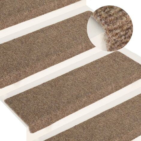 YOUTHUP Stair Mats 15 pcs Needle Punch 65x25 cm Cream