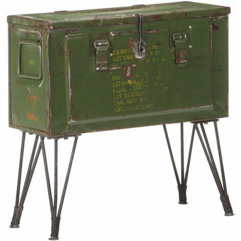 YOUTHUP Storage Trunk Military Style 68x24x66 cm Iron