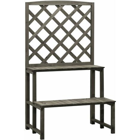 YOUTHUP Trellis Planter with Shelves Grey 70x42x120 cm Solid Firwood