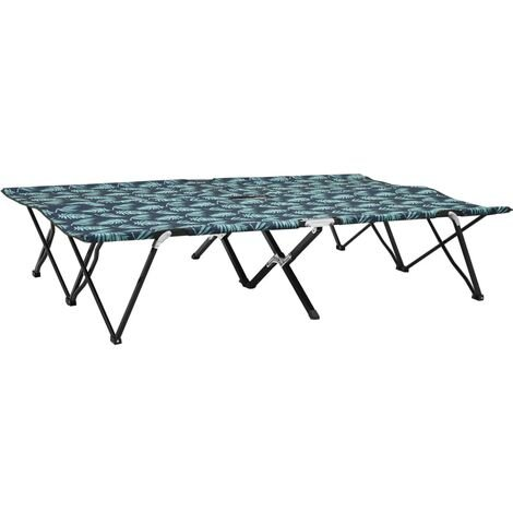 YOUTHUP Two Person Folding Sun Lounger Leaf Print Steel
