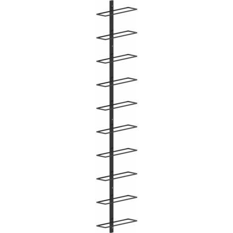 YOUTHUP Wand-Weinregal für 10 Flaschen Schwarz Metall