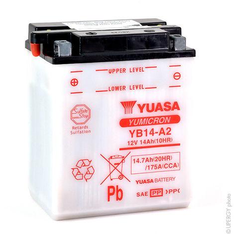Yuasa - Batería moto YUASA YB14-A2 12V 14Ah