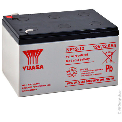 Yuasa - Batería plomo AGM YUASA NP12-12 12V 12Ah F6.35