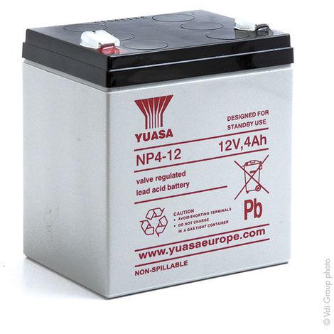 Yuasa - Batería plomo AGM YUASA NP4-12 12V 4Ah F4.8