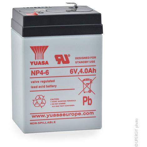Yuasa - Batería plomo AGM YUASA NP4-6 6V 4Ah F4.8