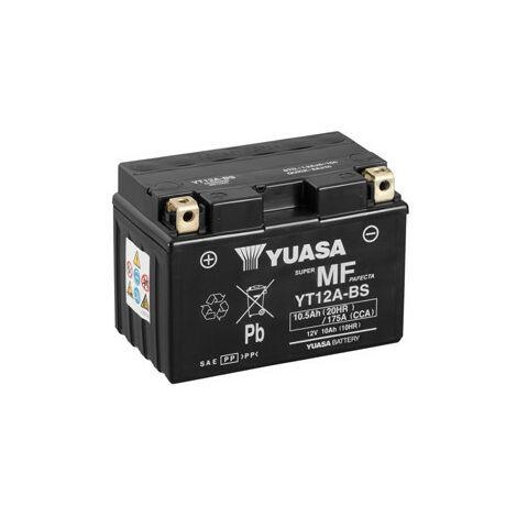 YUASA Batterie Moto YT12A-BS avec pack acide - 12V – 10.5Ah