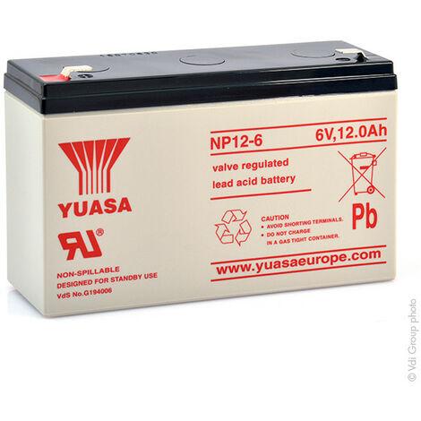 Yuasa - Batterie plomb AGM YUASA NP12-6 6V 12Ah F6.35