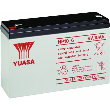 Yuasa NP Series NP10-6 Valve Regulated Lead-Acid Battery SLA 6V 10.0Ah