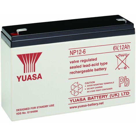 Yuasa NP Series NP12-6 Valve Regulated Lead-Acid Battery SLA 6V 12.0Ah