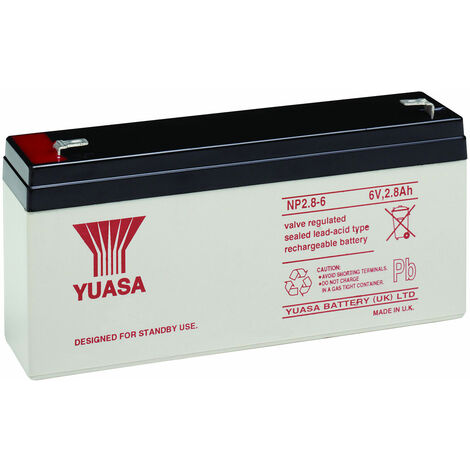 Yuasa NP Series NP2.8-6 Valve Regulated Lead-Acid Battery SLA 6V 2.8Ah