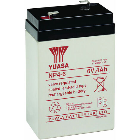 Yuasa NP Series NP4-6 Valve Regulated Lead-Acid Battery SLA 6V 4.0Ah
