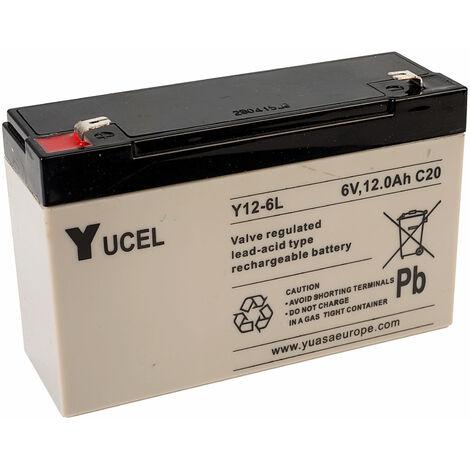 Yuasa Yucel Y12-6 Valve Regulated Lead Acid SLA Battery 6V 12.0Ah